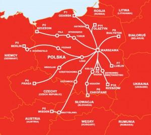 Схема маршрутів PolskiBus